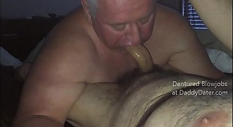 Dentured Hairy Silverdaddy Daddybear Gives Hairy Bear Hot toothless Blowjob