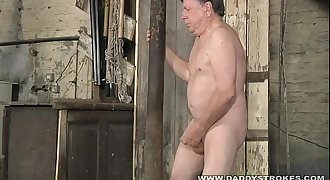 Stocky Daddy Jerking His hard-on