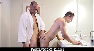 Young Stepson Needs Daddy's Help Shaving And Gets Fucked