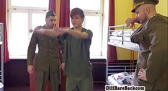 Uniformed officers spitroasting twink cadet